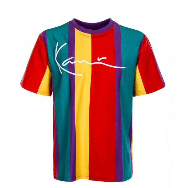 Herren T-Shirt Signature Stripe Purple Red Yellow