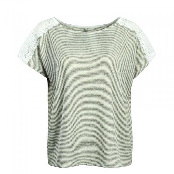 Damen T-Shirt Mira Stripe White Olive