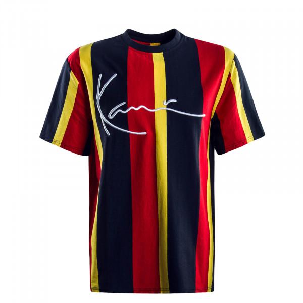 Herren T-Shirt Signature Stripe Navy Red Yellow