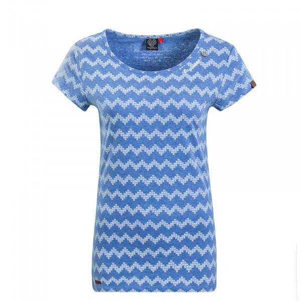 Damen T-Shirt Mint Zig Zag Blue White