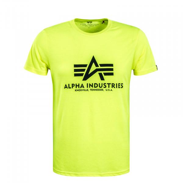 Herren T-Shirt Basic Neon Yellow Black