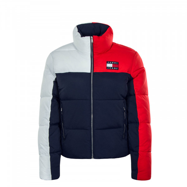 Damen Jacke Colorblock Puffa Navy Red