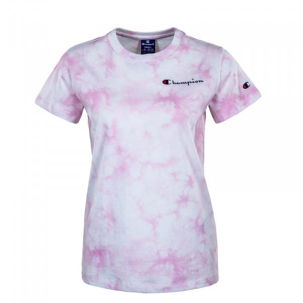 Damen T-Shirt - Crewneck 113939 - White / Allover / Rose