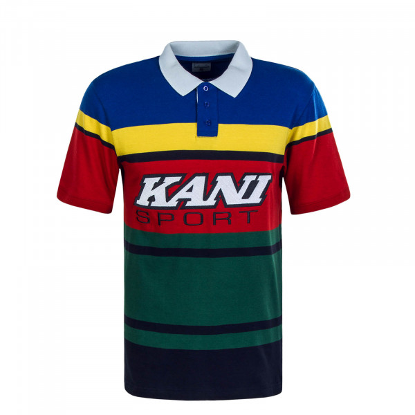 Herren Poloshirt Sport Stripe Red Green Blue Yellow