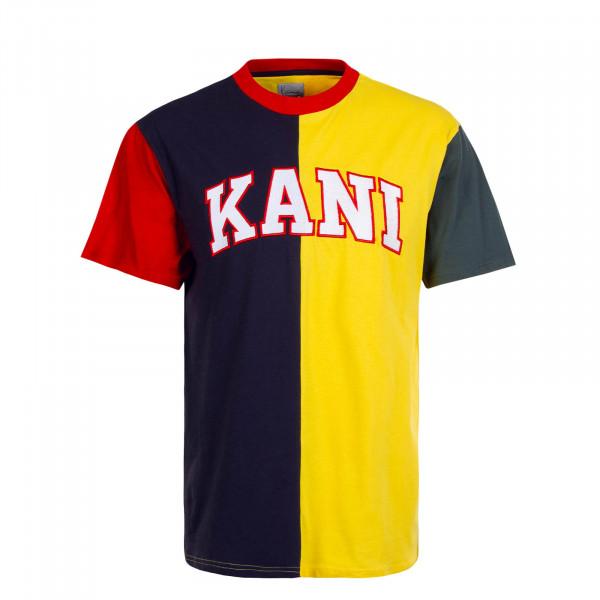 Herren T-Shirt College Block Navy Yellow Red