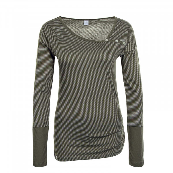 Damen Longsleeve Asym Stripe Button Light Olive Melange