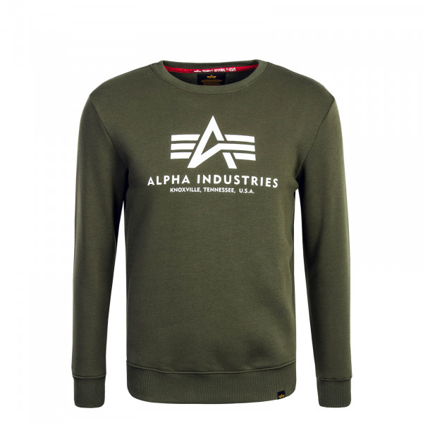 Herren Sweatshirt Basic Olive White