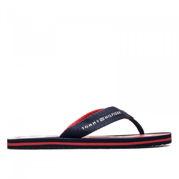 Damen Slide Flat Beach Navy Red