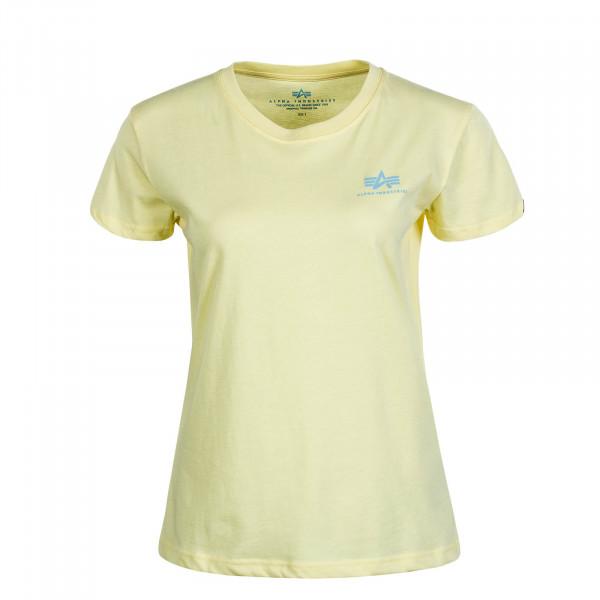Damen T-Shirt Basic Small Logo Pastel Yellow