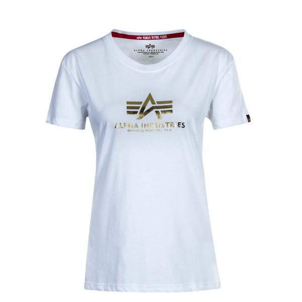 Damen T-Shirt New Basic T Foil Print White Gold