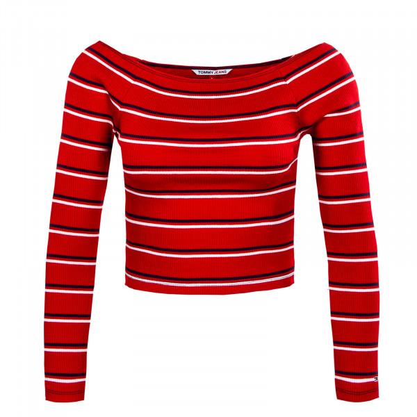 Damen Langarmshirt - Skinny Off Shoulder Deep Crimson - red