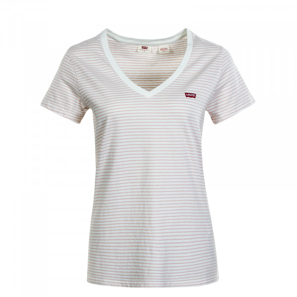 Damen T-Shirt - Perfect V-Neck Annalise - Stripe Sepia