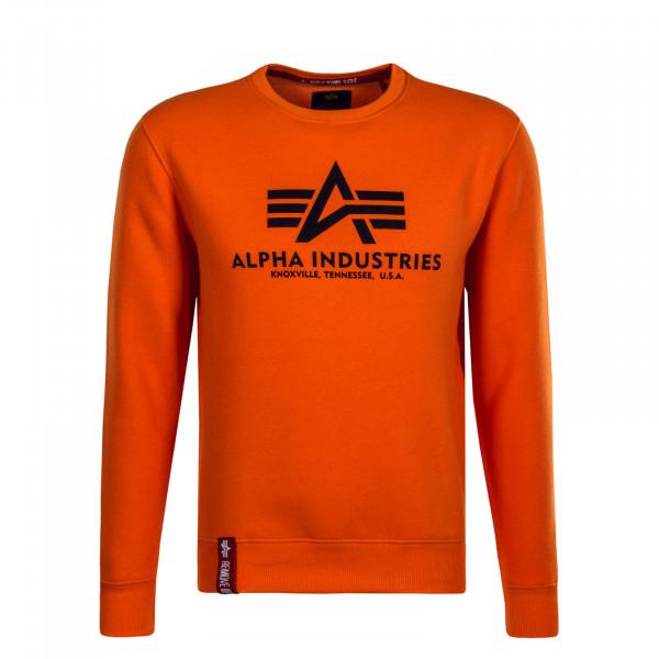 Herren Sweatshirt Basic Neon Orange Black
