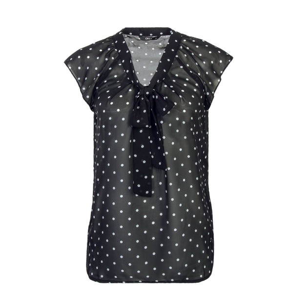 Only Bluse Top Lux Black White Dot