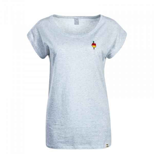 Damen T-Shirt Flutschy White Grey Melange