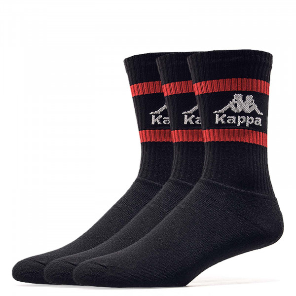 Kappa Socks 3 Pack Temmo Black Red