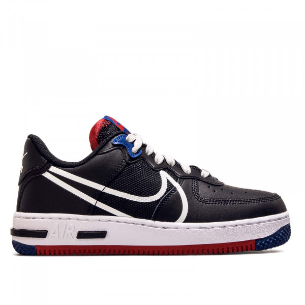 Damen Sneaker Air Force 1 React Black White Gym Red