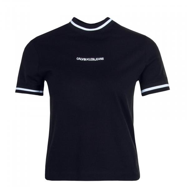 Damen T-Shirt  Neck and Cuff Black White
