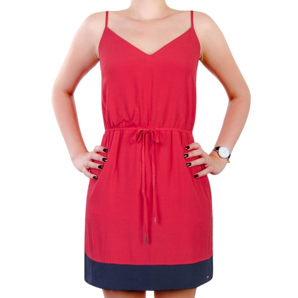 Tommy Wmn Dress Strap Red Navy