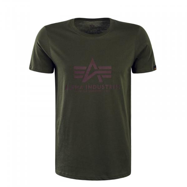 Herren T-Shirt Basic Dark Green Bordeaux