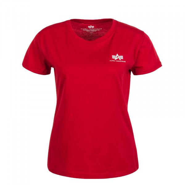 Damen T-Shirt Basic Small Logo Speed Red