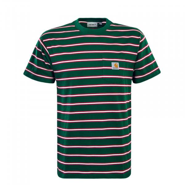 Herren T-Shirt Houston Pocket Stripe Green