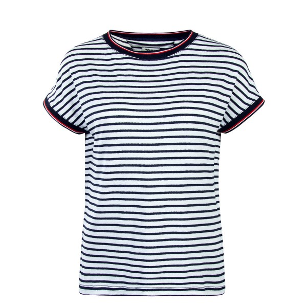 Tommy Wmn TS Crepe Stripe White Navy