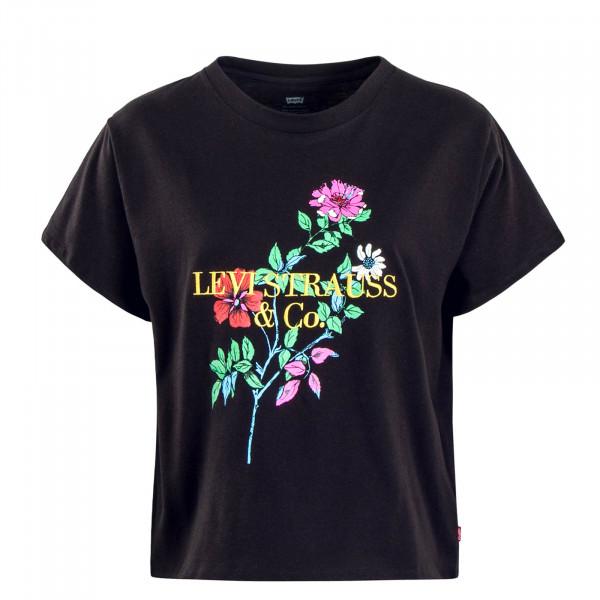 Damen T-Shirt Graphic 90s Black Flower