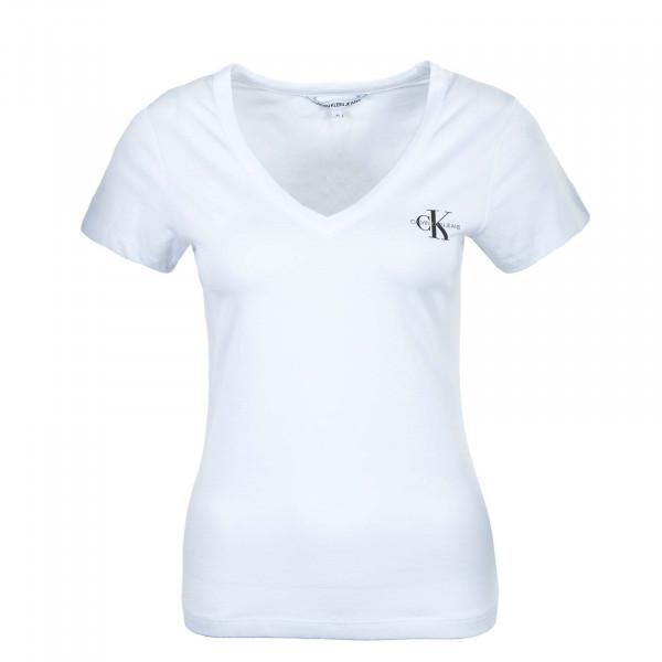 Damen T-Shirt - Monogram Slim V Neck 7166 - Bright White