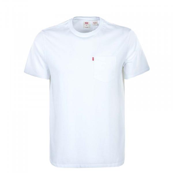 Herren T-Shirt - Relaxed Fit Pocket - White