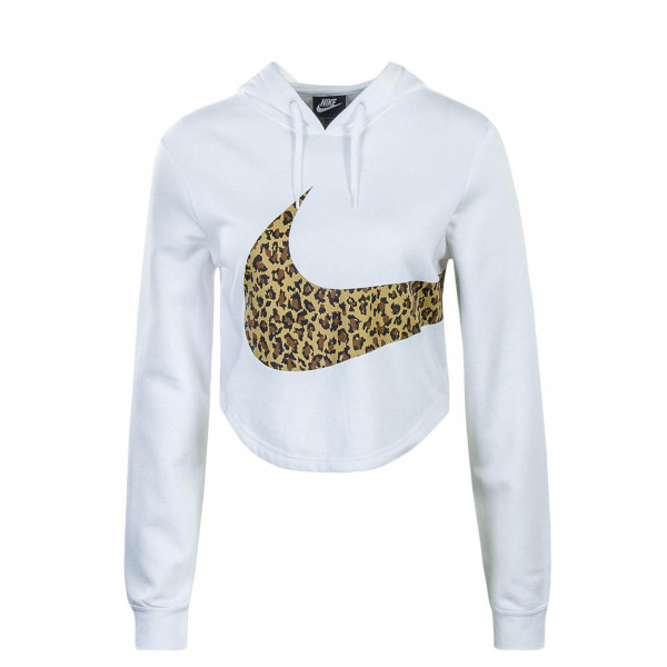 Hoody Crop White Animal Brown
