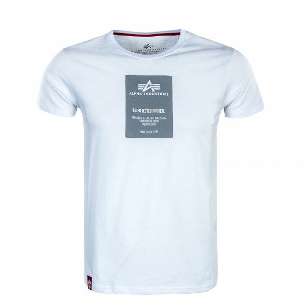 Herren T-Shirt - Reflective Label Print - White