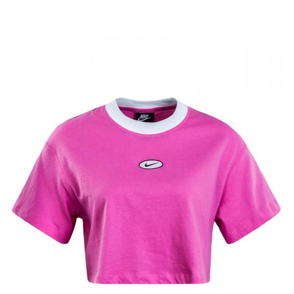 Damen T-Shirt Crop Swoosh Rosa White