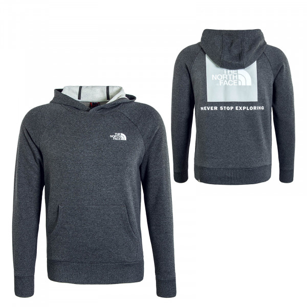 Herren Hoody Raglan Red Box Grey