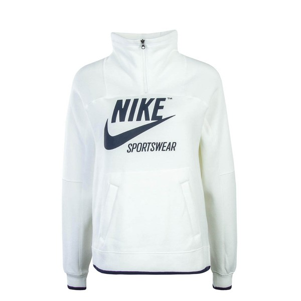 Nike Wmn Sweat Half Zip Beige Navy