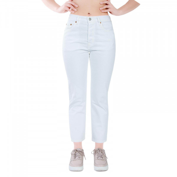 Levis Wmn 501 Original Crop Clouds White