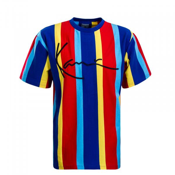 Herren T-Shirt Signature Pinstripe Blue Red Yellow