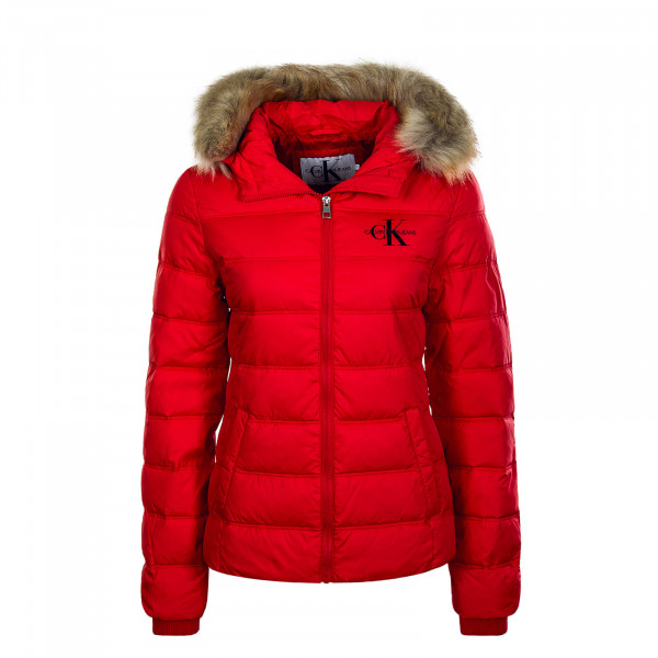 Damen Jacke Puffer Fitted Red