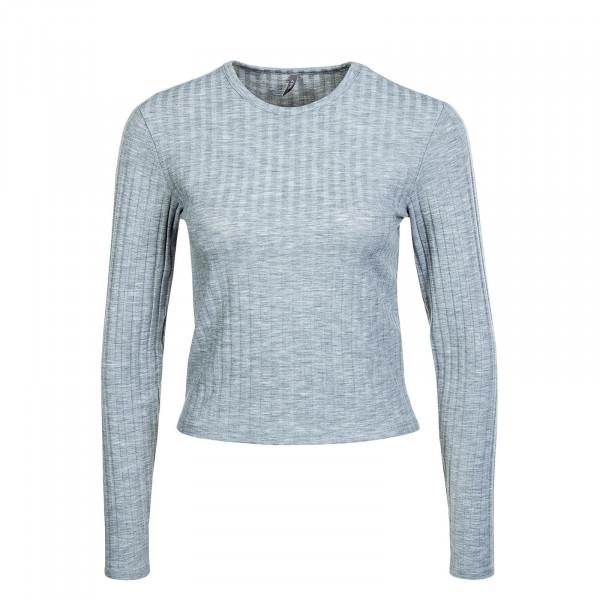 Damen Longsleeve - Crop Valeria Neck Top - Light Grey