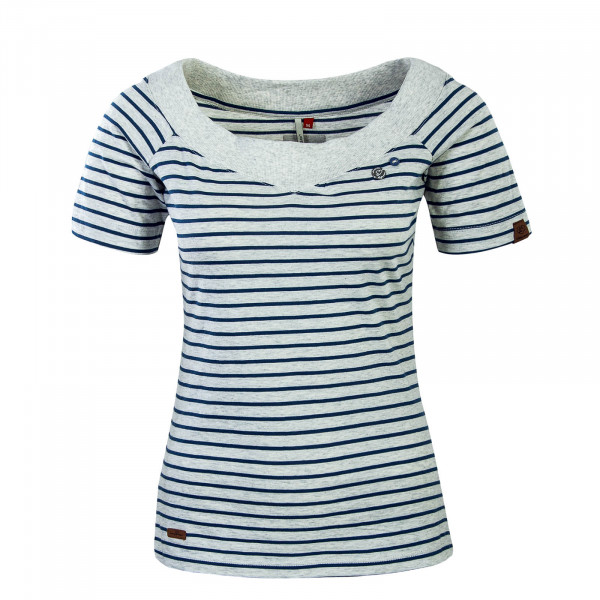 Damen T-Shirt Seina Stripe Light Grey
