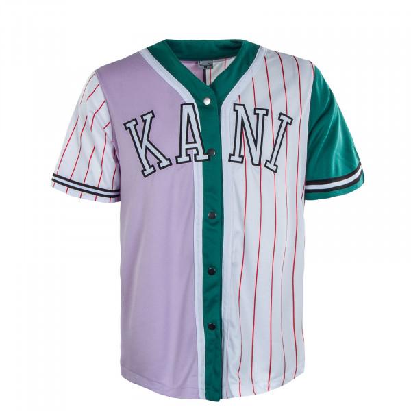 Herren Hemd - College Block Pinstripes Baseball Shirt - Purple