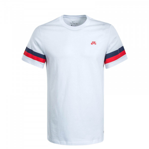 Herren T-Shirt Sleeve Stripe White Red