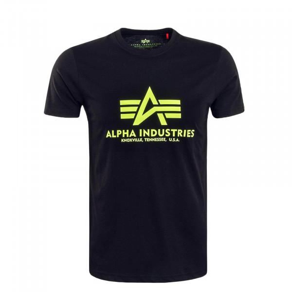 Herren T-Shirt Basic Black Neon Yellow