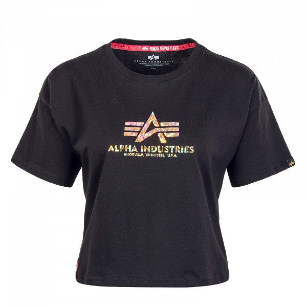 Damen T-Shirt - Basic COS Hol Print - Black / Gold