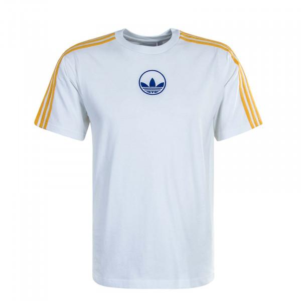 Herren T-Shirt 3 Stripe Circle GD2122 White Yellow