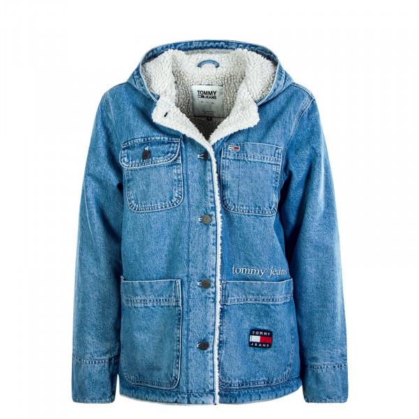Damen Jeansjacke Fur Sherpa Blue