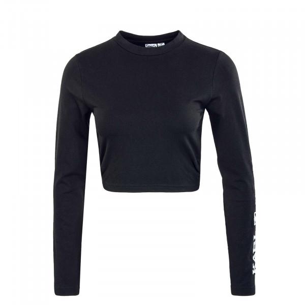Damen Langarmshirt - Retro Cropped - Black