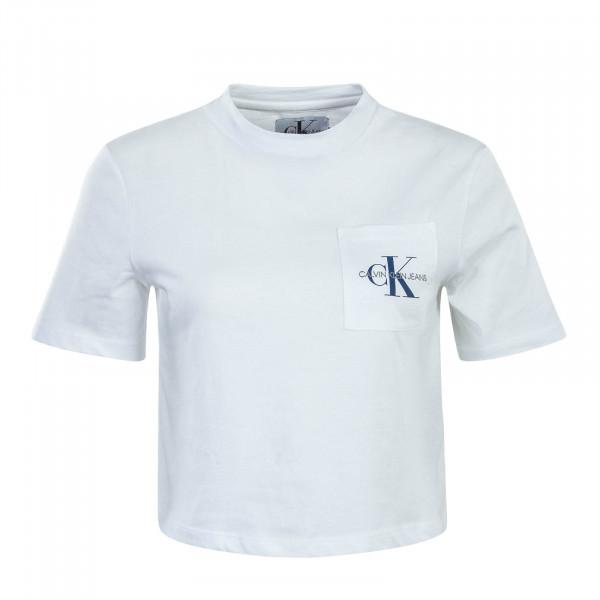 Damen T-Shirt Monogram Crop Pocket White