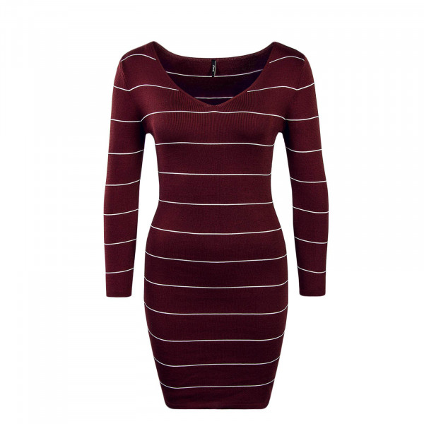 Dress Galanty Stripe Bordeaux White