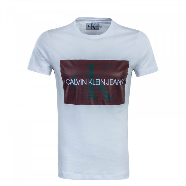 Herren T-Shirt Monogram Box Logo White Maroon